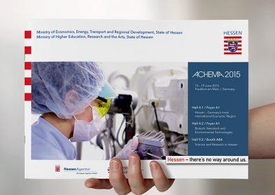 Messebroschüre Achema für den hessischen Hochschulstand und den Firmen-Gemeinschaftsstand der HTAI
