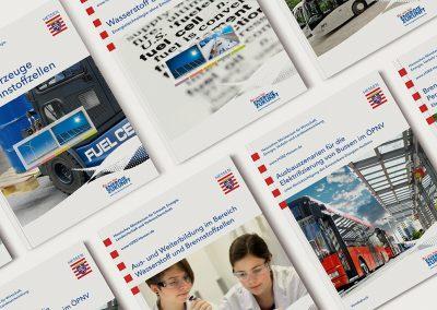 H2BZ-Initiative Hessen, einige Bände aus der umfangreichen Broschürenreihe