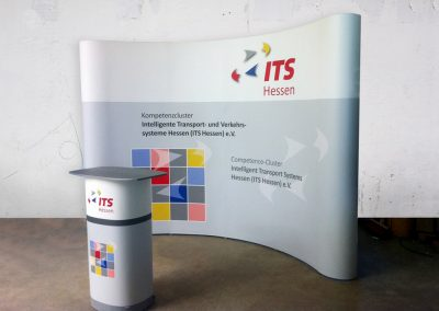 Displaywand und mobile Theke ITS Hessen